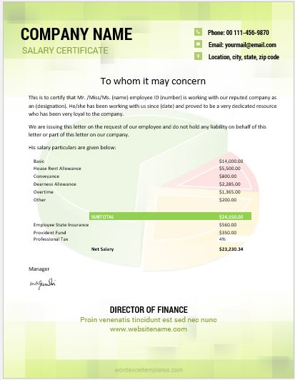 10 best salary certificate templates for ms word word excel salary certificate sample altavistaventures Choice Image