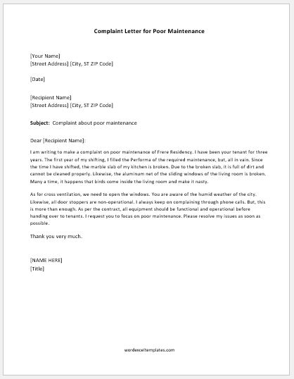 Complaint Letter For Poor Maintenance  Word  Excel Templates