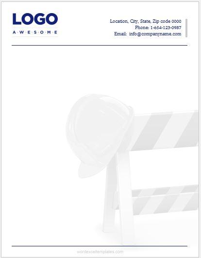 Construction Business Letterhead
