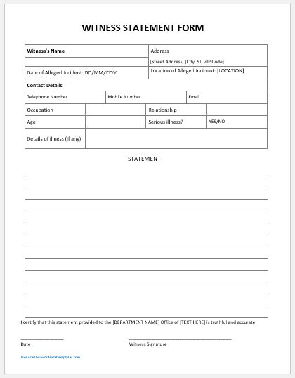 Vehicle Service Department Letter >> Generic & Student Witness Statement Forms MS Word | Word ...