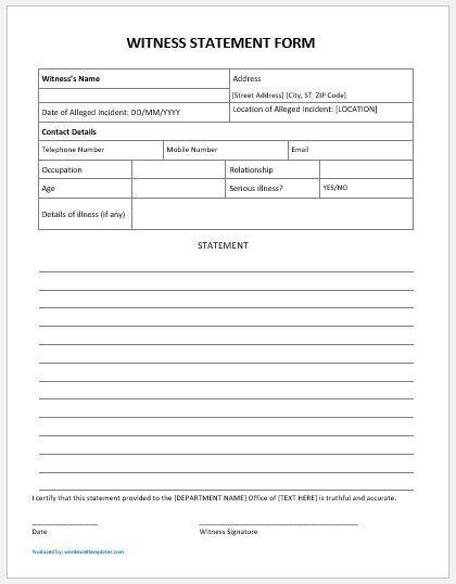 Witness statement form