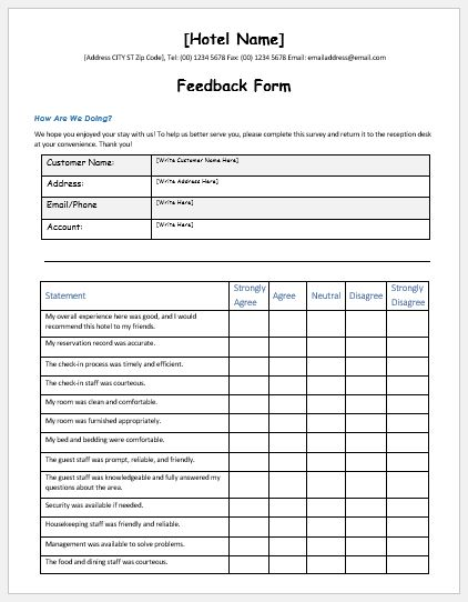 Hotel services feedback form template ms word word for Word employee suggestion form template