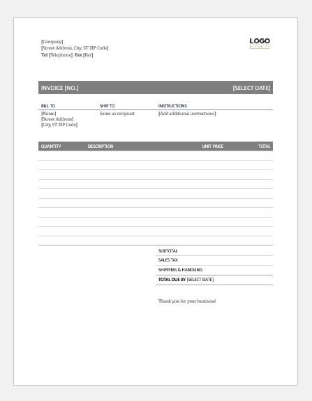 Sales Invoice for MS Word