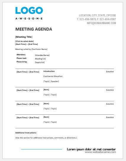 meeting agenda templates ms word word amp excel templates