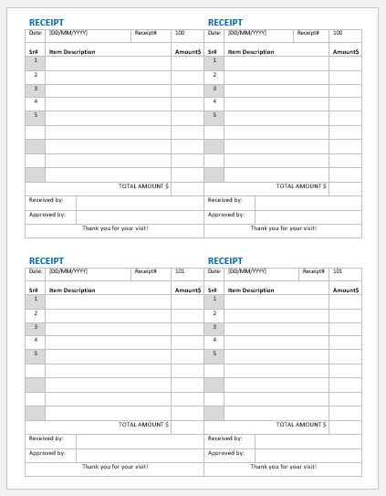 Payment receipt template