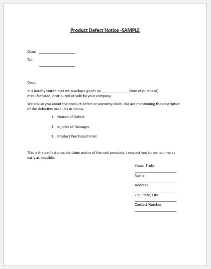 Product Defect Notice Template