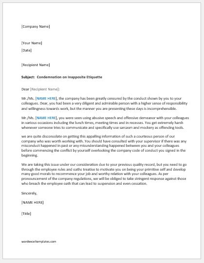 Reprimand Letter to an Employee for Bad Behavior