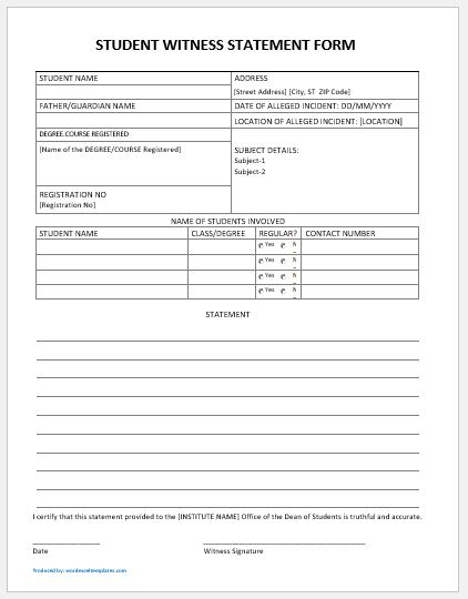 Generic  Student Witness Statement Forms Ms Word  Word  Excel