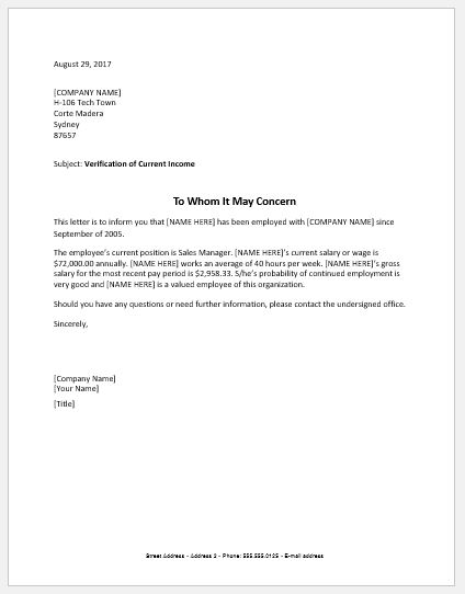Tenant income verification letter