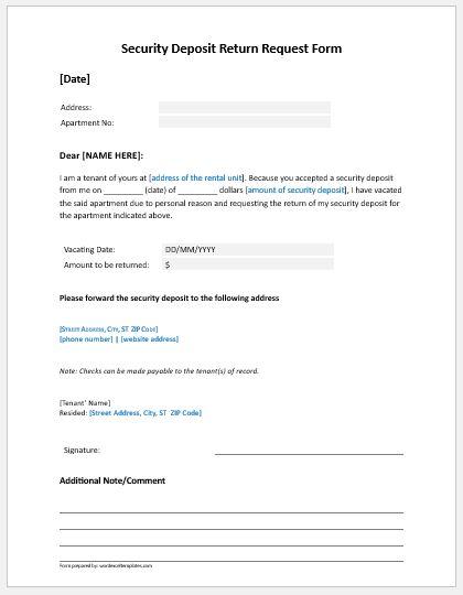 Tenant Security Deposit Return Request Form | Word & Excel Templates