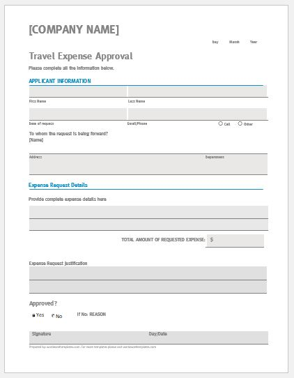 Travel Expense Approval Form Template Ms Word Word Excel Templates