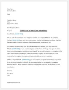 Warning letter to employee for bad performance