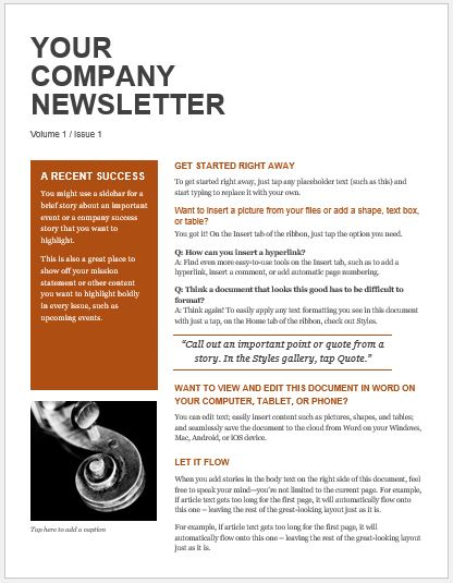 Company Newsletter for MS Word