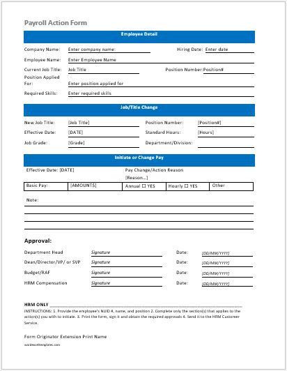employee payroll action form template