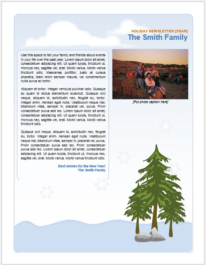 Family Holiday Newsletter for MS Word