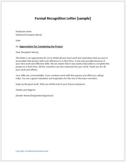 Employee Recognition Letters Writing Guide Template Word Excel