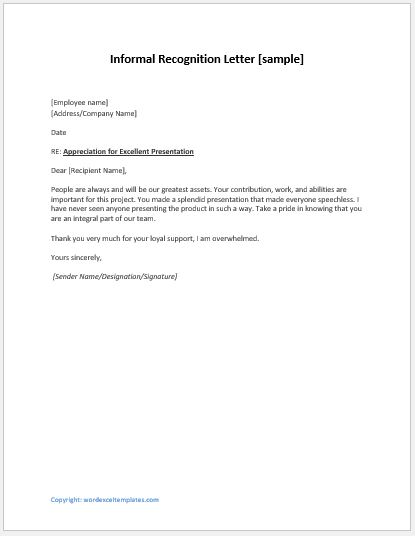 Letter Of Recognition Template from www.wordexceltemplates.com
