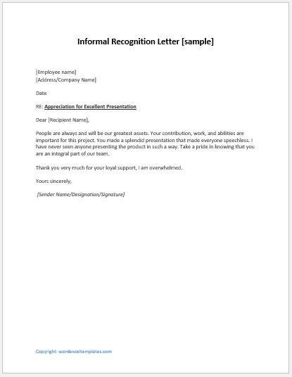 Employee Recognition Letter Informal