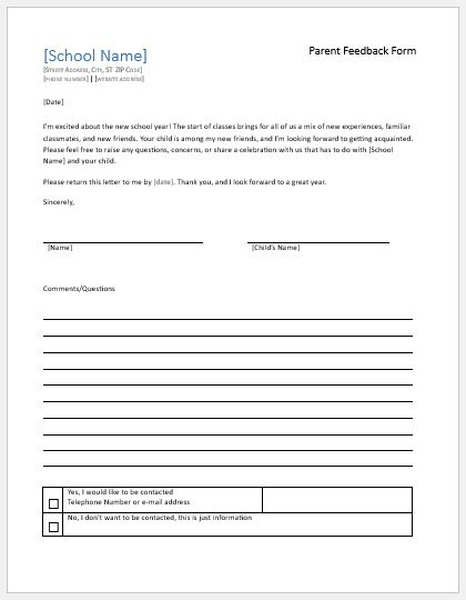 Parent feedback forms for school teacher evaluation for Student feedback form template word