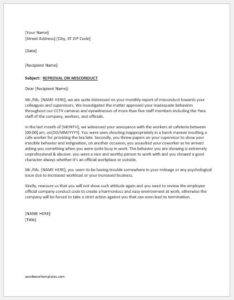 Reprimand letter for bad attitude at work