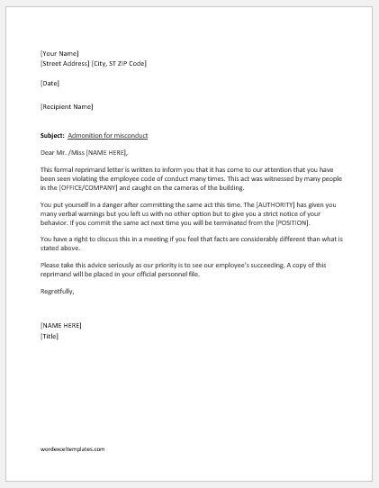 Reprimand letter sample