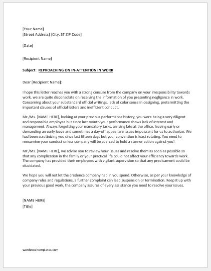Reprimand letter to employee for negligence in work