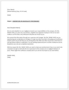 Warning letter for negligence in work