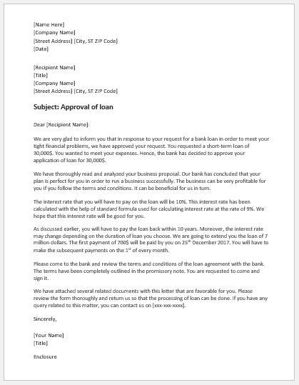 Bank loan approval letter sample