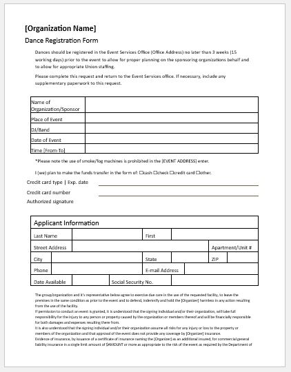 Dance registration forms for ms word word excel templates for Dance school registration form template free