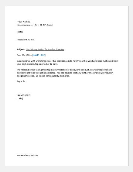 Disciplinary action letter for insubordination