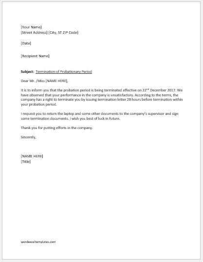 Employment termination letter within probationary period