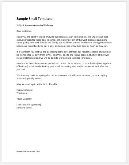 holiday announcement letters