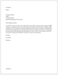 Resignation Letter Writing