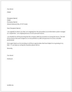 Resignation Letter Writing