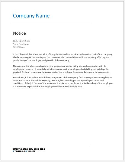 Notice to Late Coming Employees