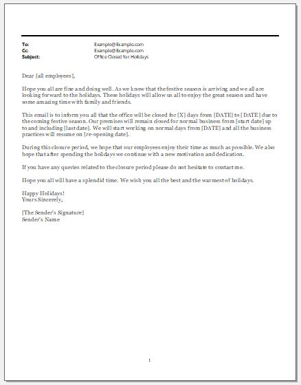 Office Closed for Holidays Email Template | Word & Excel Templates