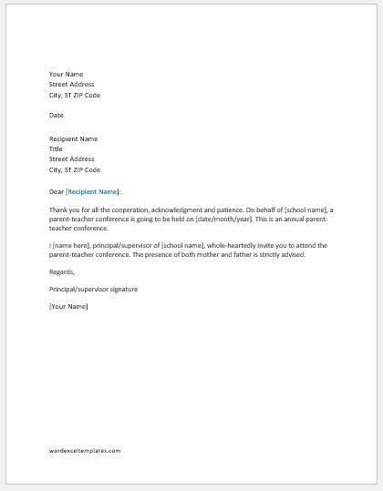 Parent teacher conference invitation letter