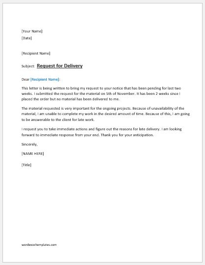 Request Letter For Delivery Of Material Word Amp Excel