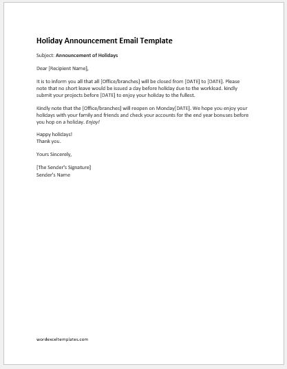 Staff holiday announcement email