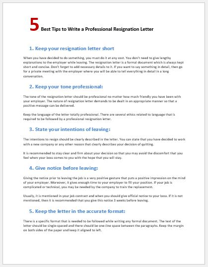 Tips to write a professional resignation letter