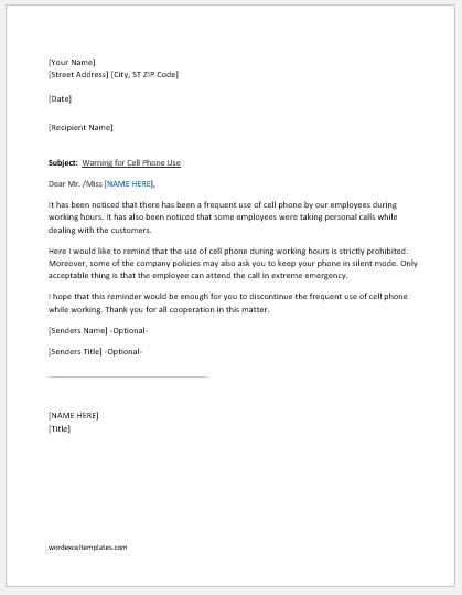 Warning Letter For Cell Phone Use At Work  Word  Excel Templates