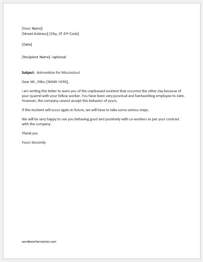 Warning letter for fight with coworker