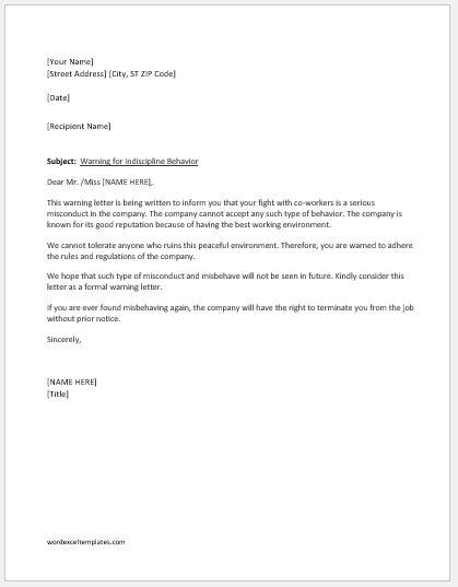 Warning letter for indiscipline behavior