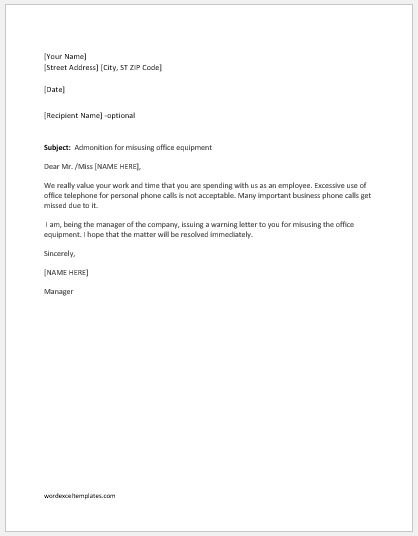 Warning Letter for Misusing Office Equipment | Word & Excel