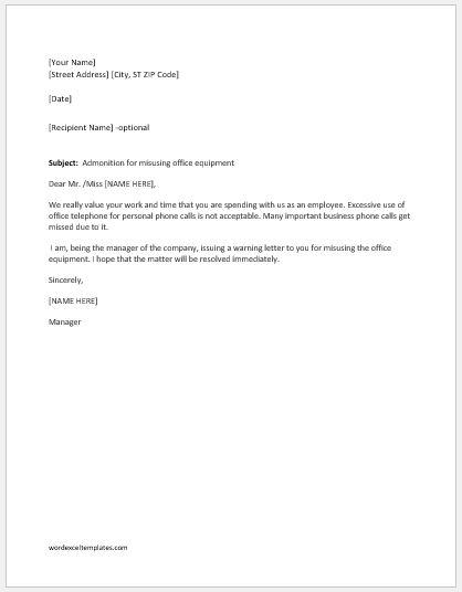 Warning letter for misusing office equipment