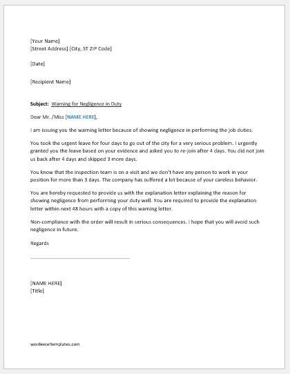 Warning letter for negligence in duty