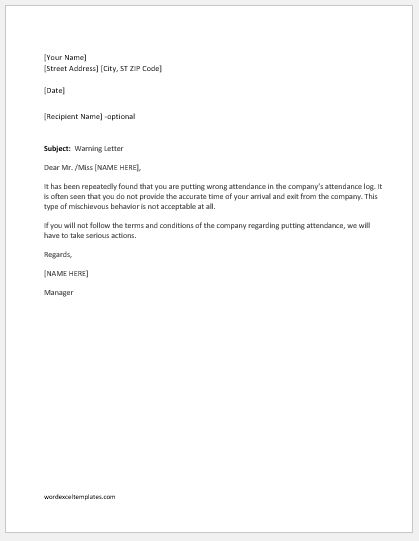 Warning letter for putting wrong attendance