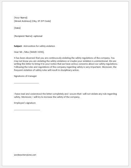 Warning letter for safety violation