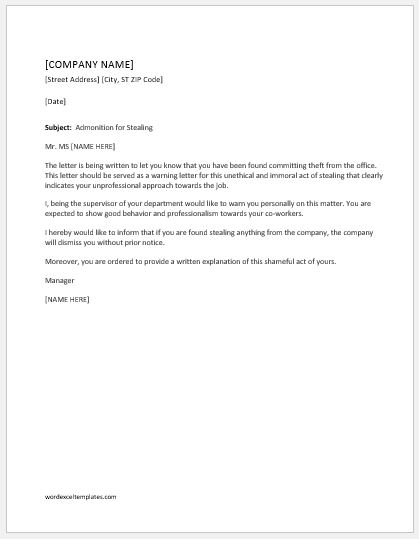 Warning letter for stealing office items word excel templates warning letter spiritdancerdesigns