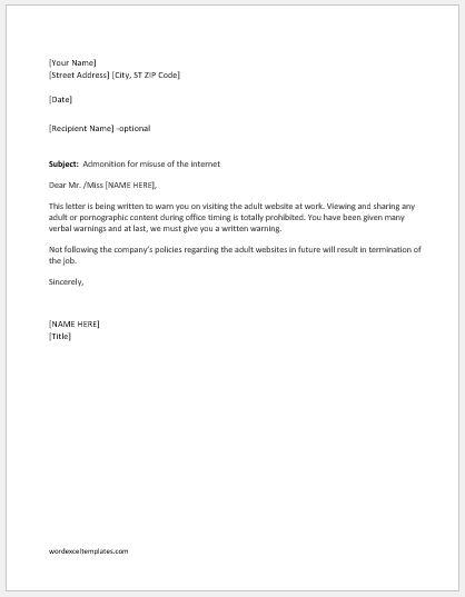 Warning letter for visiting adult websites at work
